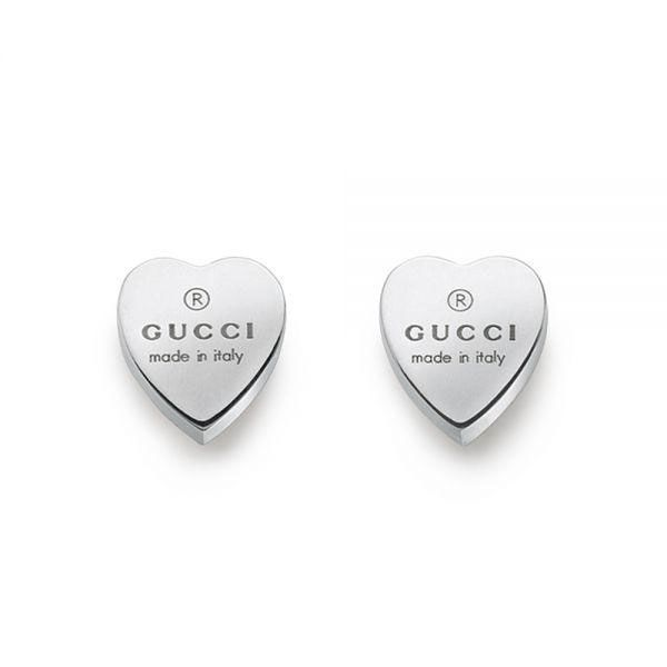 Gucci Sterling Silver Trademark Heart Stud Earrings