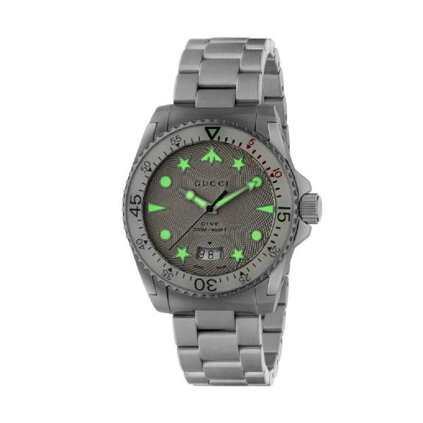GUCCI MENS DIVE 40MM WHITE DIAL WATCH