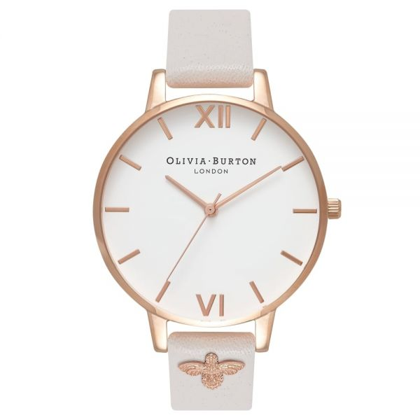 Olivia Burton 3D Bee Embellished Strap Blush & Rose Gold Watch