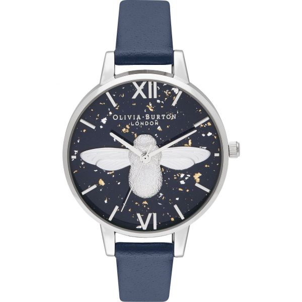 Olivia Burton Celestial 3D Bee Midnight Navy & Silver Watch