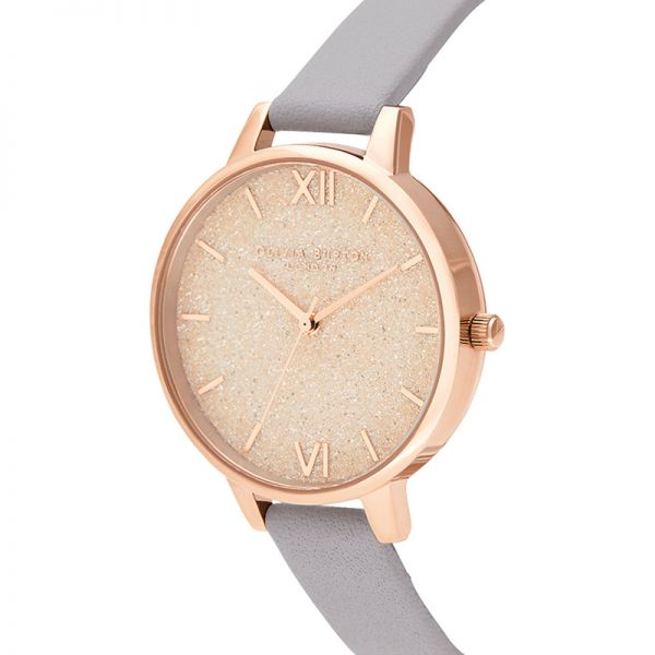 Olivia Burton Glitter Dial Grey Lilac & Pale Rose Gold Watch