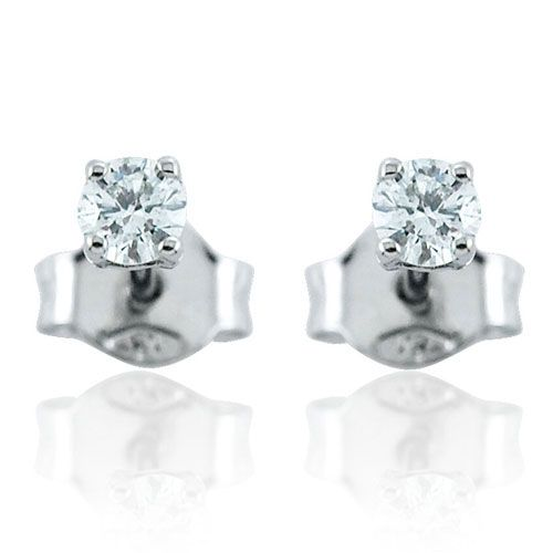 Steffans RBC Diamond Claw Set Platinum Stud Earrings (0.20ct)