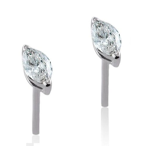 Steffans Marquise Cut Diamond Claw Set Platinum Stud Earrings (0.20cts)