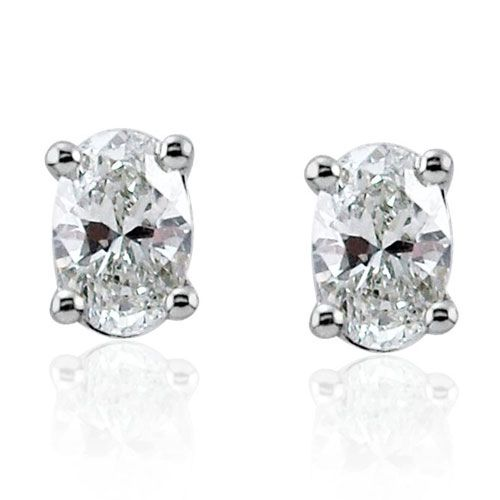 Steffans Oval Shaped Diamond Claw Set Platinum Stud Earrings (0.20cts)