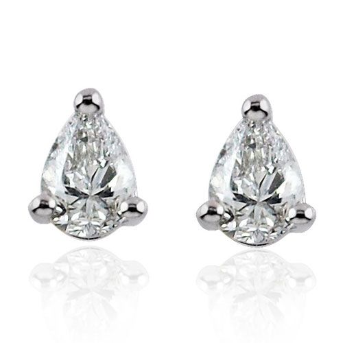 Steffans Pear Shaped Diamond Claw Set Platinum Stud Earrings (0.20cts)