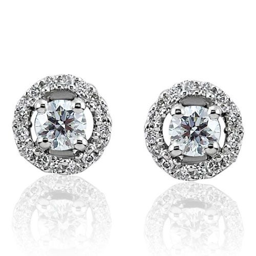 Steffans RBC Diamond Micro Set Frame Platinum Cluster Stud Earrings (0.20cts)