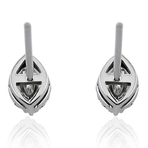 Steffans Marquise Cut Diamond Micro set Frame Platinum Cluster Stud Earrings (0.20cts)