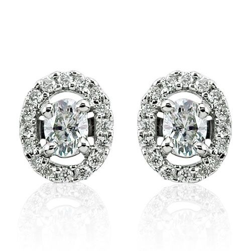 Steffans Oval Shaped Diamond Micro Set Frame Platinum Cluster Stud Earrings (0.20cts)