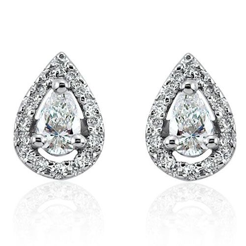 Steffans Pear Shaped Diamond Micro Set Frame Platinum Cluster Stud Earrings (0.20cts)