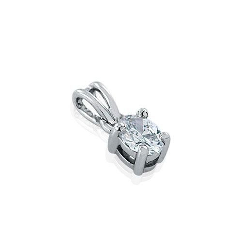 Steffans Oval Shaped Diamond Claw Set Platinum Solitaire Pendant with Platinum Chain (0.16ct)