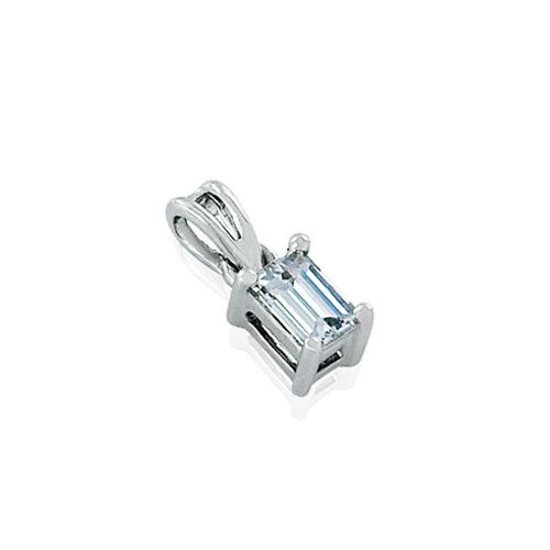 Steffans Emerald Cut Diamond Claw Set Platinum Solitaire Pendant with Platinum Chain (0.16ct)