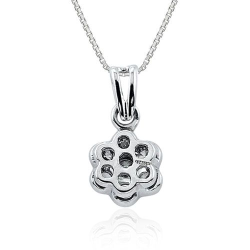 Steffans RBC Diamond Grain Set Platinum Cluster Pendant with Platinum Chain (0.14cts)