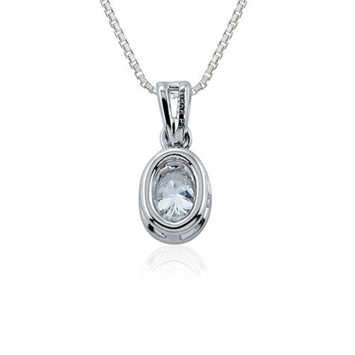 Steffans Oval Shaped Diamond Rub-Over Platinum Solitaire Pendant with Platinum Chain (0.14ct)