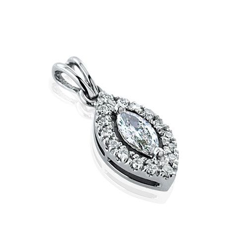 Steffans Marquise & RBC Diamond Micro Set Frame Platinum Cluster Pendant with Platinum Chain (0.14cts)