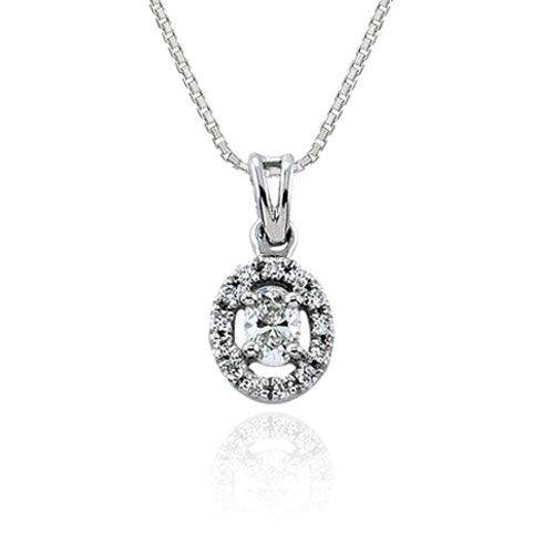 Steffans Oval & RBC Diamond Micro Set Frame Platinum Cluster Pendant with Platinum Chain (0.14cts)