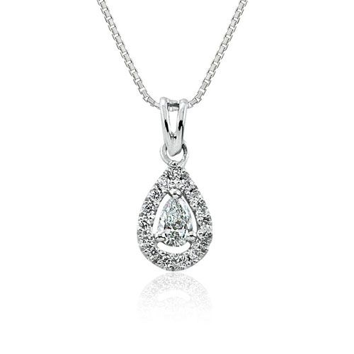 Steffans Pear & RBC Diamond Micro Set Frame Platinum Cluster Pendant with Platinum Chain (0.14cts)