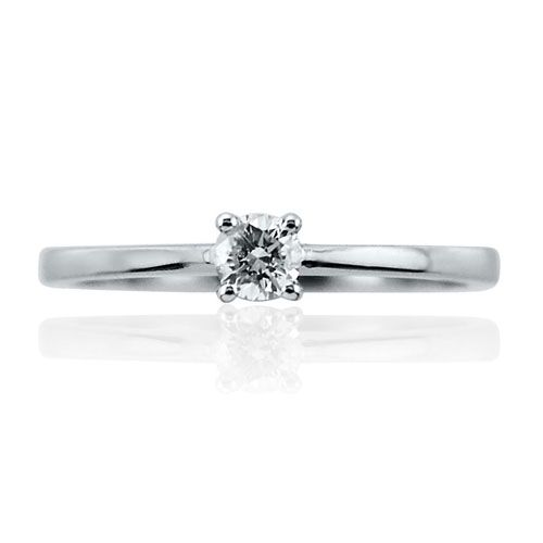 Steffans RBC Diamond Claw Set, Platinum Solitaire Engagement Ring (0.18ct)