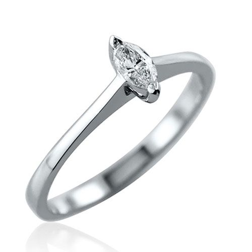 Steffans Marquise Cut Diamond Claw Set, Platinum Solitaire Engagement Ring (0.18ct)