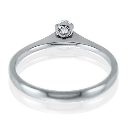 Steffans Oval Diamond Claw Set, Platinum Solitaire Engagement Ring (0.18ct)