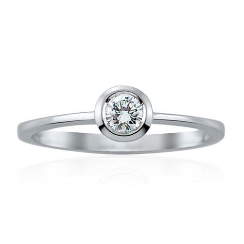 Steffans RBC Diamond Rub-Over, Platinum Solitaire Engagement Ring (0.18ct)