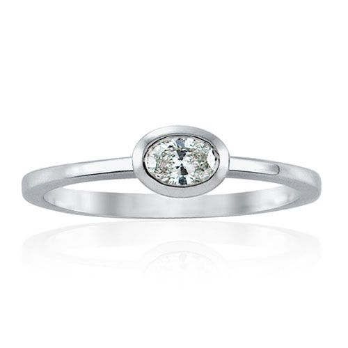 Steffans Oval Shaped Diamond Rub-Over, Platinum Solitaire Engagement Ring (0.18ct)
