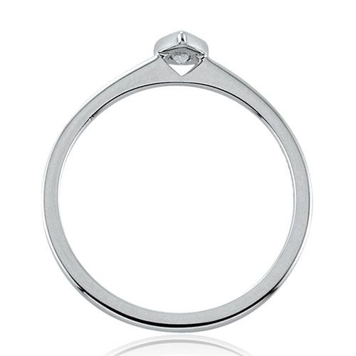 Steffans Pear Shaped Diamond Rub-Over, Platinum Solitaire Engagement Ring (0.18ct)