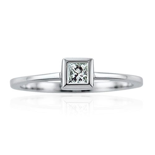 Steffans Princess Cut Diamond Rub-Over, Platinum Solitaire Engagement Ring (0.18ct)