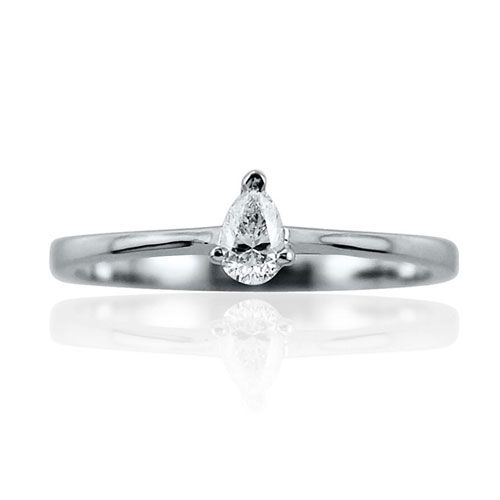 Steffans Pear Diamond Claw Set, Platinum Solitaire Engagement Ring (0.18ct)