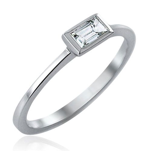 Steffans Baguette Cut Diamond Rub-Over, Platinum Solitaire Engagement Ring (0.18ct)