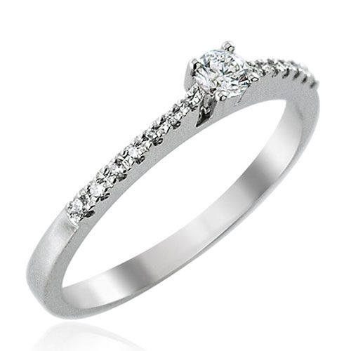 Steffans RBC Diamond, Platinum Solitaire Engagement Ring with Micro Set Diamond Tapered Shoulders (0.25ct)