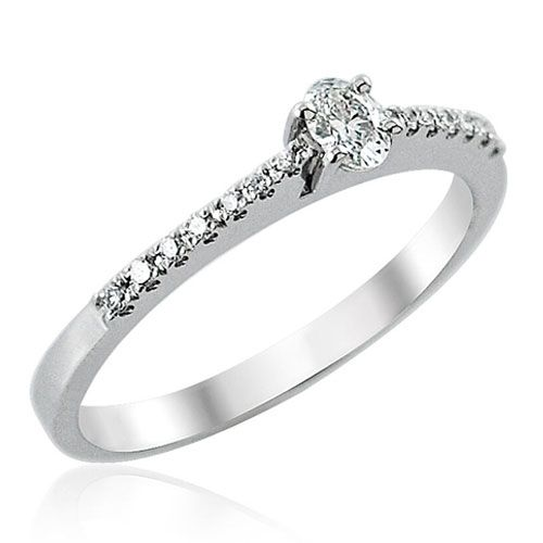 Steffans Oval Shaped Diamond, Platinum Solitaire Engagement Ring with Micro Set Diamond Tapered Shoulders (0.25ct)