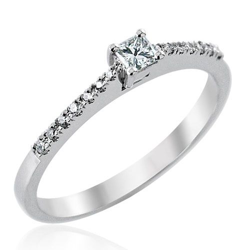 Steffans Princess Cut Diamond, Platinum Solitaire Engagement Ring with Micro Set Diamond Tapered Shoulders (0.25ct)