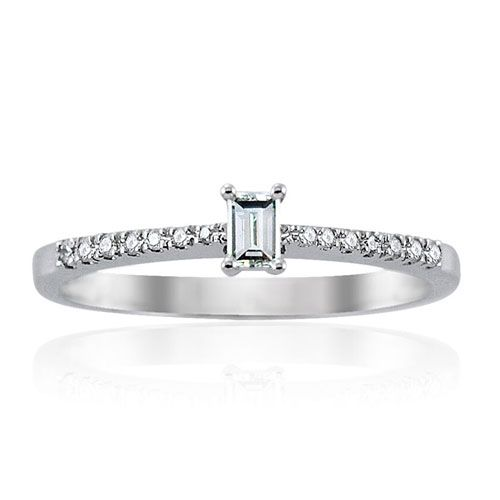 Steffans Baguette Cut Diamond, Platinum Solitaire Engagement Ring with Micro Set Diamond Tapered Shoulders (0.25ct)