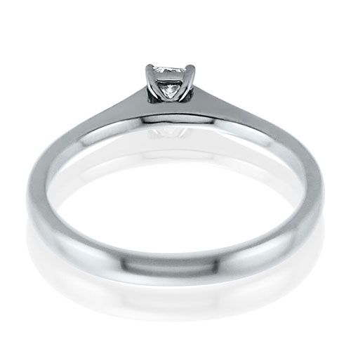 Steffans Princess Cut Diamond Claw Set, Platinum Solitaire Engagement Ring (0.18ct)