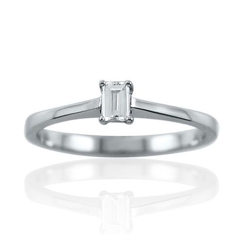 Steffans Baguette Cut Diamond Claw Set, Platinum Solitaire Engagement Ring (0.18ct)