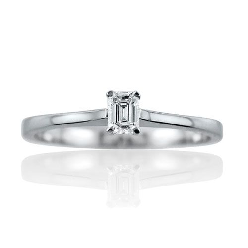 Steffans Emerald Cut Diamond Claw Set, Platinum Solitaire Engagement Ring (0.18ct)