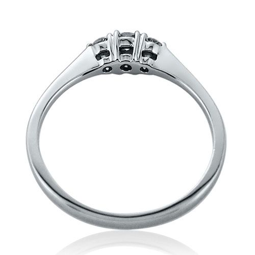 Steffans RBC Diamond Claw Set, 3 Stone Platinum Engagement Ring (0.18ct)