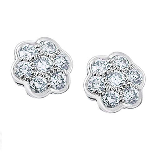 Steffans RBC Diamond Grain Set Cluster Platinum Stud Earrings (0.50ct)
