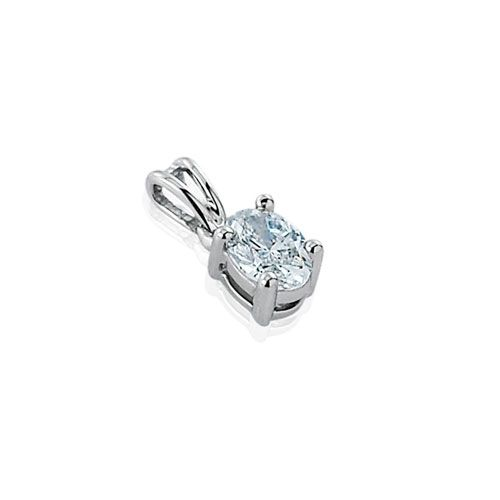 Steffans Oval Shaped Diamond Claw Set Solitaire Platinum Pendant with Platinum Chain (0.23ct)
