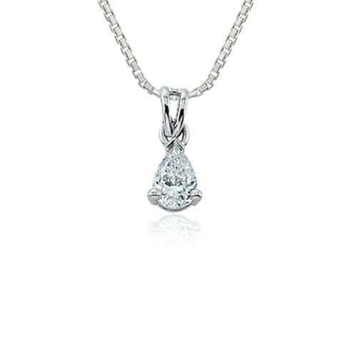 Steffans Pear Shaped Diamond Claw Set Solitaire Platinum Pendant with Platinum Chain (0.23ct)