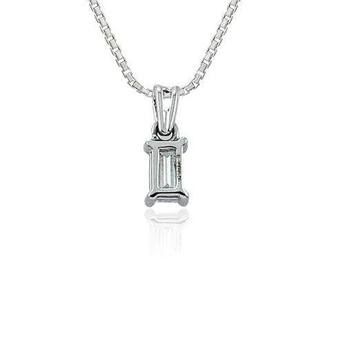Steffans Baguette Cut Diamond Claw Set Solitaire Platinum Pendant with Platinum Chain (0.23ct)
