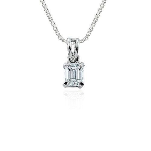 Steffans Emerald Cut Diamond Claw Set Solitaire Platinum Pendant with Platinum Chain (0.23ct)