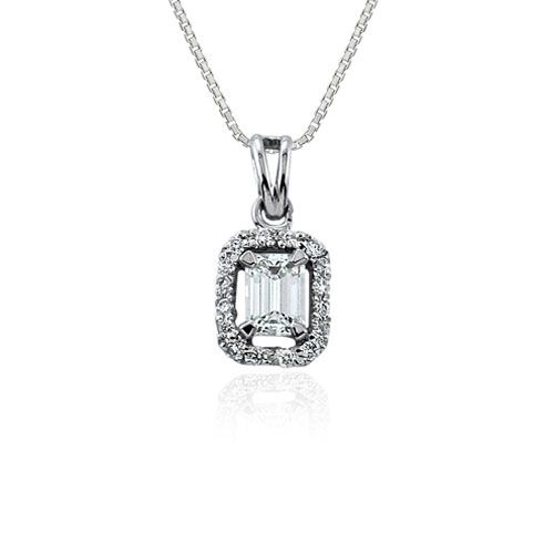 Steffans Emerald & RBC Diamond Micro Set Frame Cluster Platinum Pendant with Platinum Chain (0.30ct)