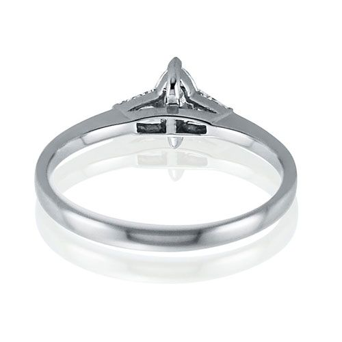 Steffans Marquise Cut Diamond Platinum Solitaire Engagement Ring with Baguette Cut Diamond Tapered Shoulders (0.38ct)