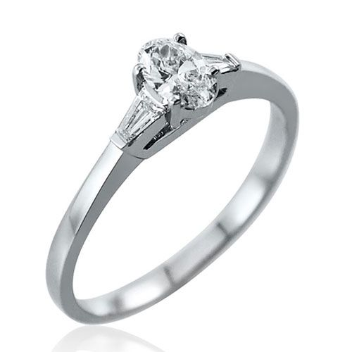 Steffans Oval Shaped Diamond, Platinum Solitaire Engagement Ring with Baguette Cut Diamond Tapered Shoulder (0.38ct)
