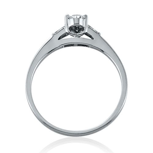 Steffans Pear Shaped Diamond Platinum Solitaire Engagement Ring with Baguette Cut Diamond Tapered Shoulders (0.38ct)