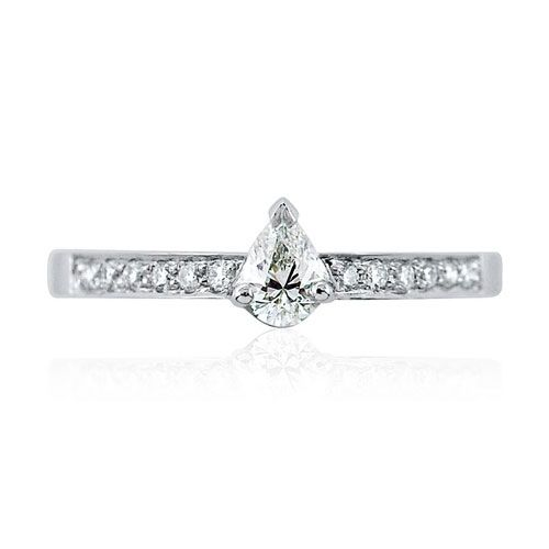 Steffans Pear Cut Diamond Platinum Solitaire Engagement Ring with Grain Set Diamond Shoulders (0.38ct)