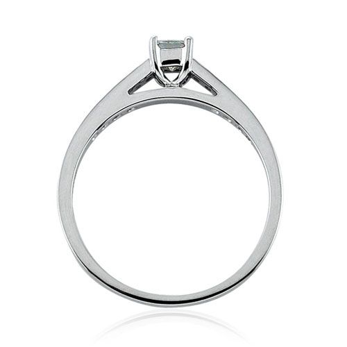 Steffans Princess Cut Diamond Platinum Solitaire Engagement Ring with Grain Set Diamond Shoulders (0.38ct)