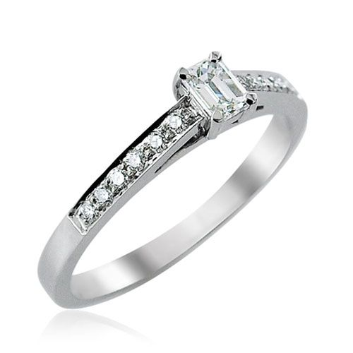 Steffans Emerald Cut Diamond Platinum Solitaire Engagement Ring with Grain Set Diamond Shoulders (0.38ct)