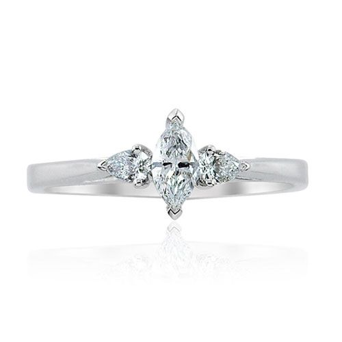 Steffans Marquise & Pear Shaped Diamond Claw set 3 Stone Platinum Engagement Ring (0.38ct)